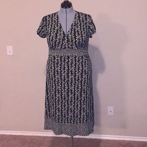 Apt.9 Black and White Stretch Wrap Dress  XL